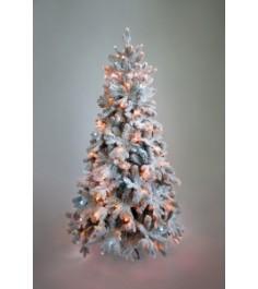 Ель искусственная Crystal Trees Габи заснеженная с вплетенной гирляндой 210 см
