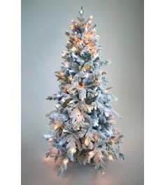 Ель искусственная Crystal Trees Неаполь заснеженная с вплетенной гирляндой 210 с...