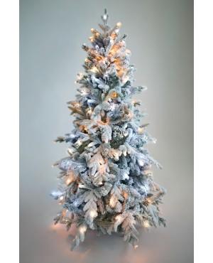 Ель искусственная Crystal Trees Неаполь заснеженная с вплетенной гирляндой 210 см