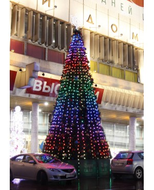 Светодинамическая ель Царь Ёлка Макс Лайт 15,5 м 3136 пикселей леска